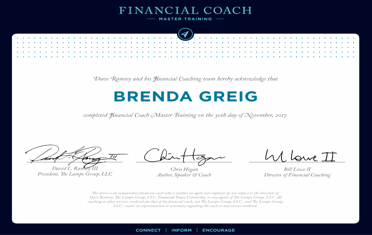Brenda Greig Certification Financial Coach